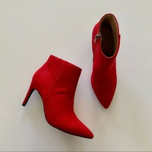A New Day | Red Microsuede Stiletto Pointed Bootie